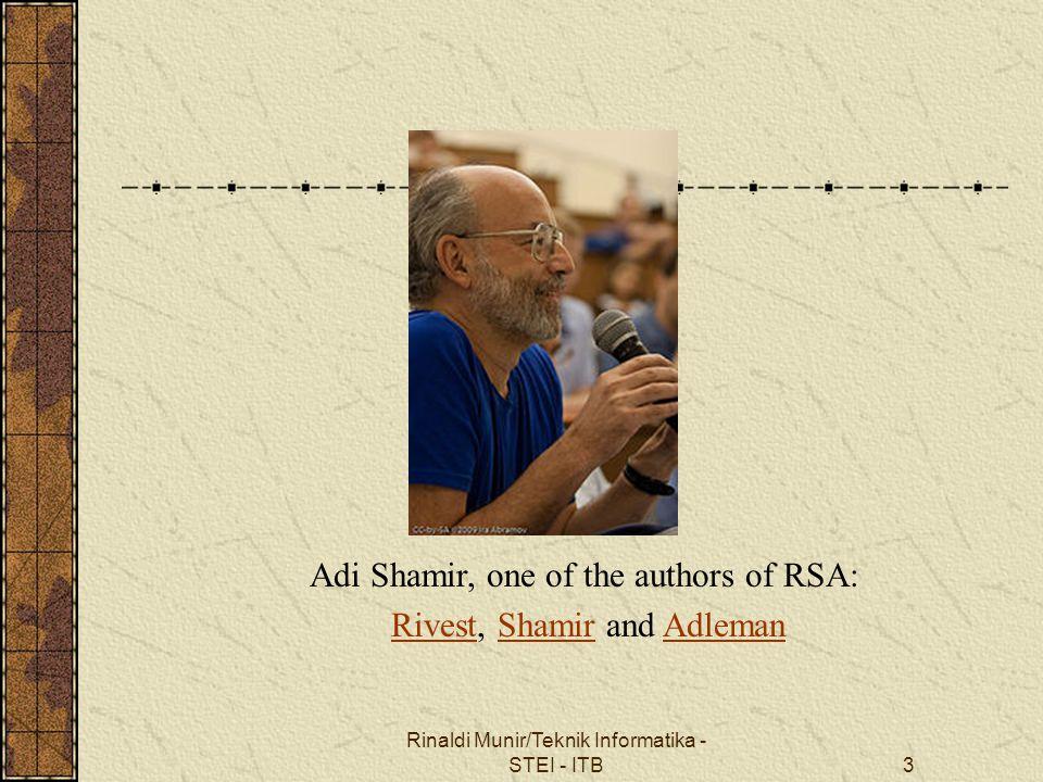 Rinaldi Munir/Teknik Informatika - STEI - ITB4 Properti Algoritma RSA 1.