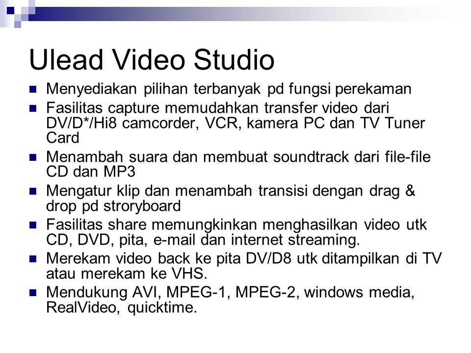 Ulead Video Studio Menyediakan pilihan terbanyak pd fungsi perekaman Fasilitas capture memudahkan transfer video dari DV/D*/Hi8 camcorder, VCR, kamera