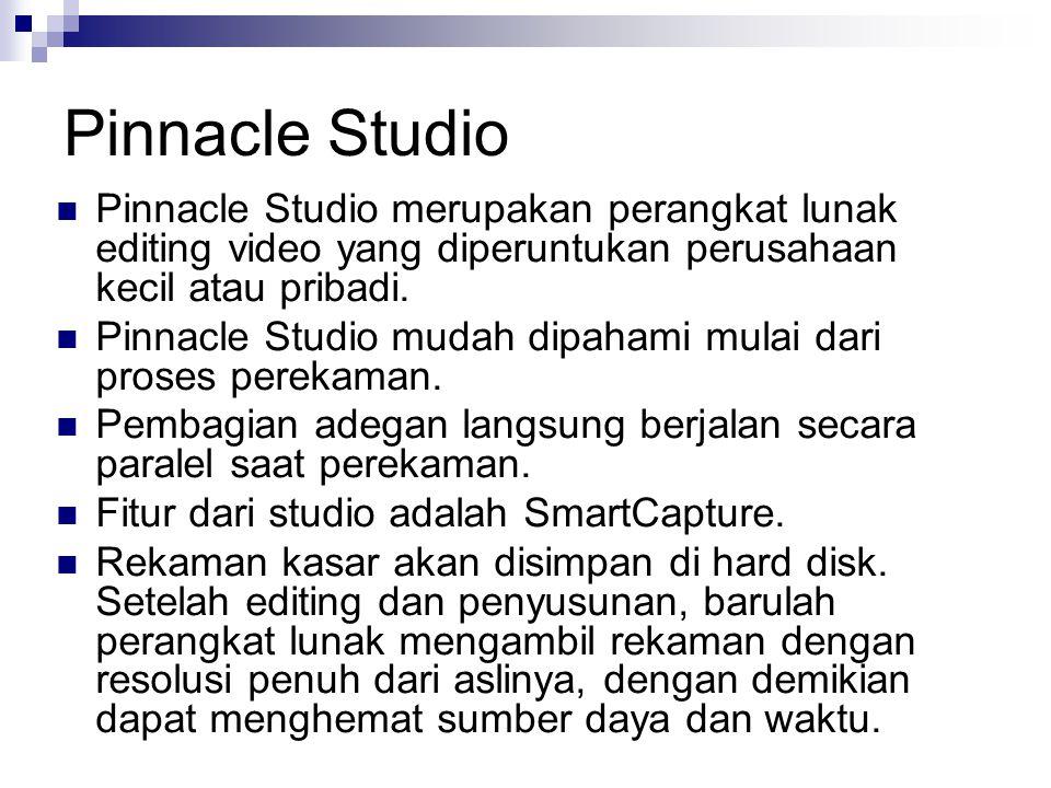 Pinnacle Studio Pinnacle Studio merupakan perangkat lunak editing video yang diperuntukan perusahaan kecil atau pribadi. Pinnacle Studio mudah dipaham