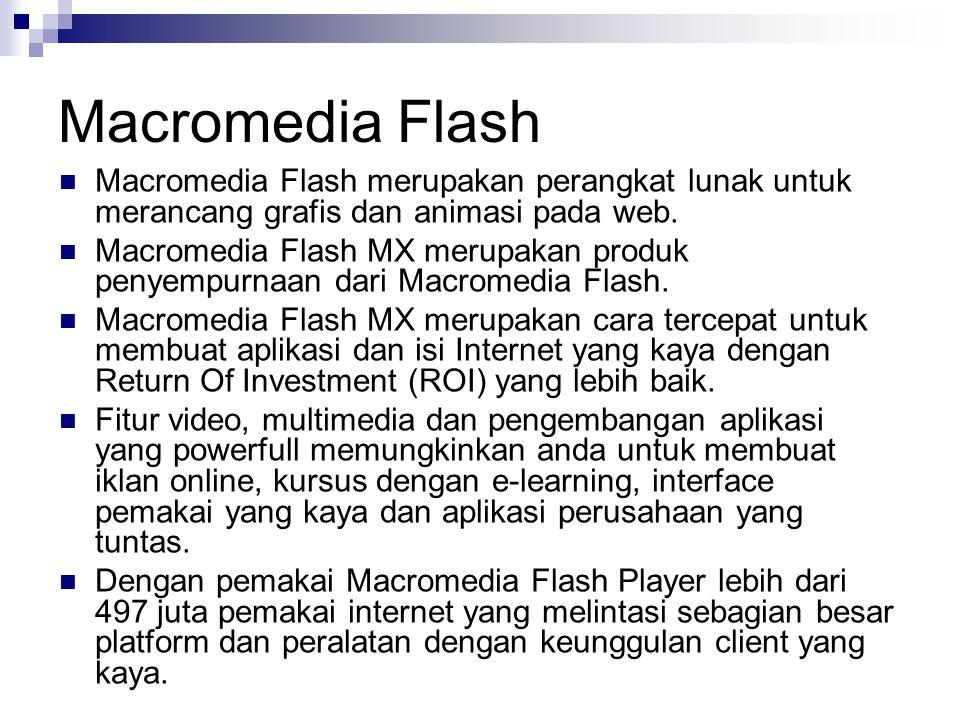 Macromedia Flash Macromedia Flash merupakan perangkat lunak untuk merancang grafis dan animasi pada web. Macromedia Flash MX merupakan produk penyempu