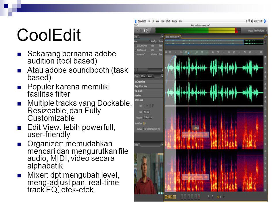 WaveLab Perangkat lunak audio profesional Utk para musisi profesional Windows only Proprietary Developed by Steinberg VST plug-in support, Sampler support Mastering functionality Audio mantage Comprehensive CD Burning