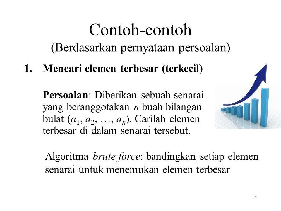 75 Contoh penggunaan heuristik untuk mempercepat algoritma exhaustive search Contoh 1: Masalah anagram.