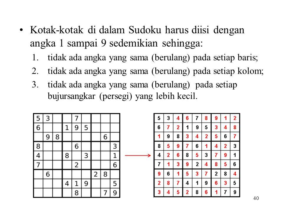 Kotak-kotak di dalam Sudoku harus diisi dengan angka 1 sampai 9 sedemikian sehingga: 1.tidak ada angka yang sama (berulang) pada setiap baris; 2.tidak ada angka yang sama (berulang) pada setiap kolom; 3.tidak ada angka yang sama (berulang) pada setiap bujursangkar (persegi) yang lebih kecil.