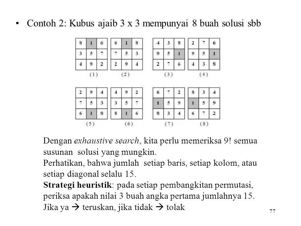 Contoh 2: Kubus ajaib 3 x 3 mempunyai 8 buah solusi sbb 77 Dengan exhaustive search, kita perlu memeriksa 9.