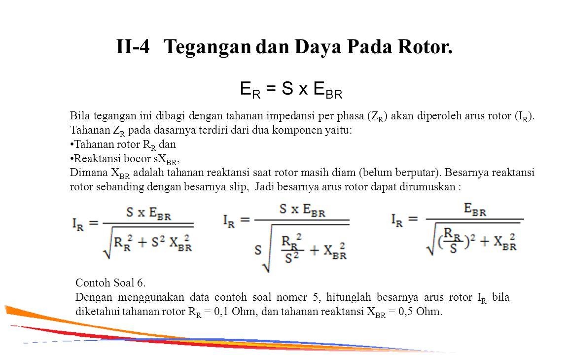 II-4Tegangan dan Daya Pada Rotor. E R = S x E BR Bila tegangan ini dibagi dengan tahanan impedansi per phasa (Z R ) akan diperoleh arus rotor (I R ).