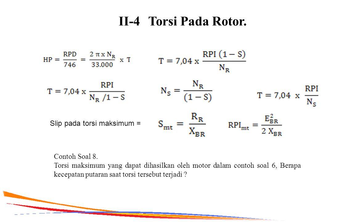 II-4Torsi Pada Rotor. Slip pada torsi maksimum = Contoh Soal 8. Torsi maksimum yang dapat dihasilkan oleh motor dalam contoh soal 6, Berapa kecepatan