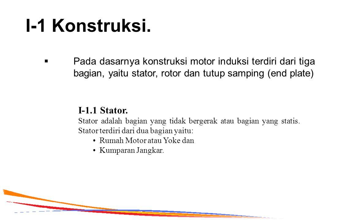 I-1 Konstruksi.  Pada dasarnya konstruksi motor induksi terdiri dari tiga bagian, yaitu stator, rotor dan tutup samping (end plate) I-1.1 Stator. Sta
