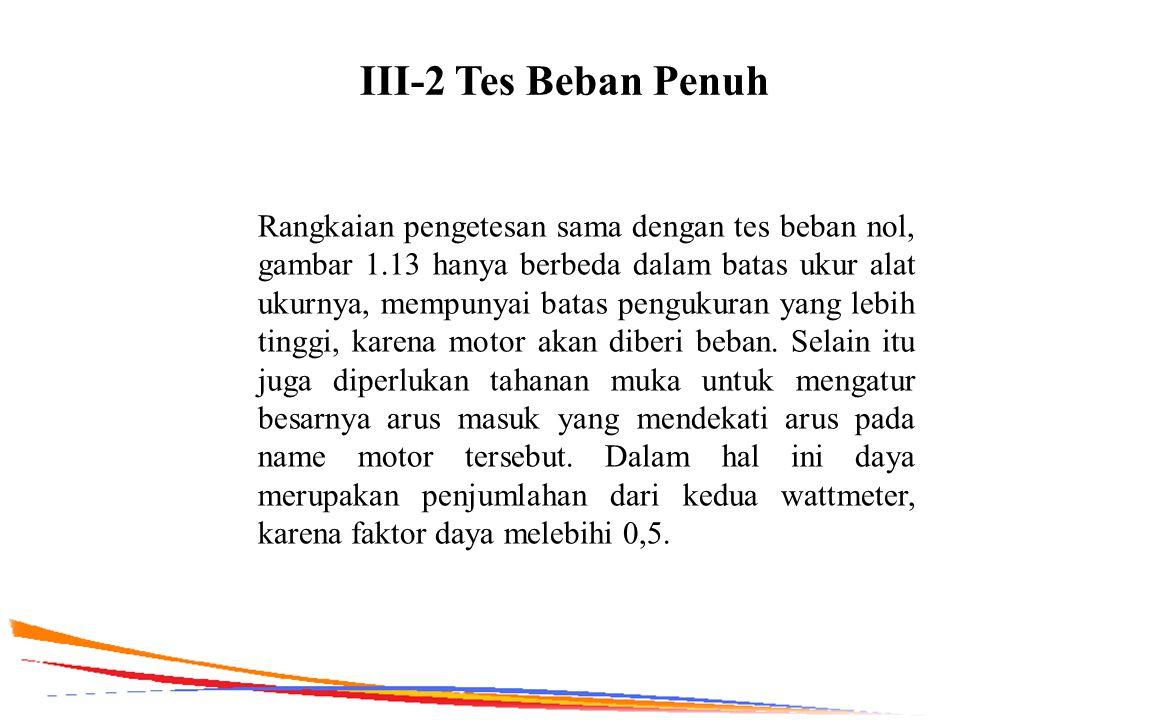 III-2 Tes Beban Penuh Rangkaian pengetesan sama dengan tes beban nol, gambar 1.13 hanya berbeda dalam batas ukur alat ukurnya, mempunyai batas penguku