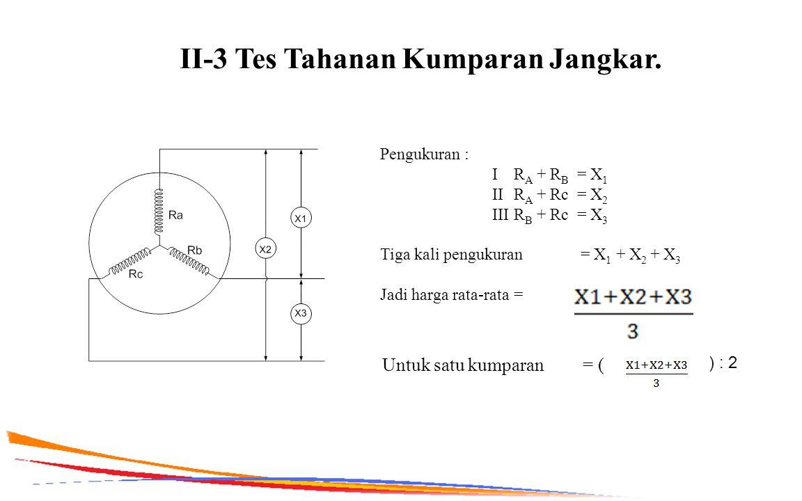 II-3 Tes Tahanan Kumparan Jangkar. Pengukuran : I R A + R B = X 1 II R A + Rc = X 2 III R B + Rc = X 3 Tiga kali pengukuran = X 1 + X 2 + X 3 Jadi har