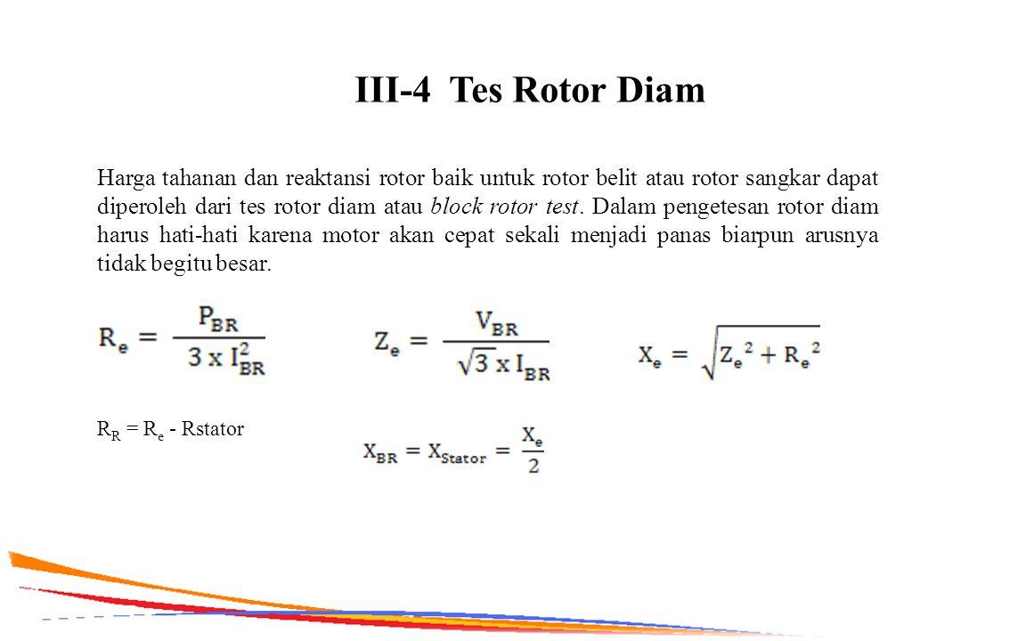 III-4 Tes Rotor Diam Harga tahanan dan reaktansi rotor baik untuk rotor belit atau rotor sangkar dapat diperoleh dari tes rotor diam atau block rotor