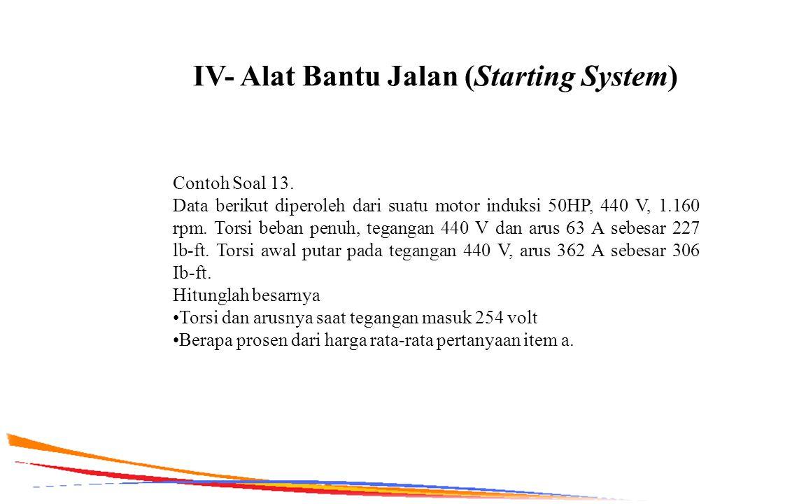 IV- Alat Bantu Jalan (Starting System) Contoh Soal 13. Data berikut diperoleh dari suatu motor induksi 50HP, 440 V, 1.160 rpm. Torsi beban penuh, tega