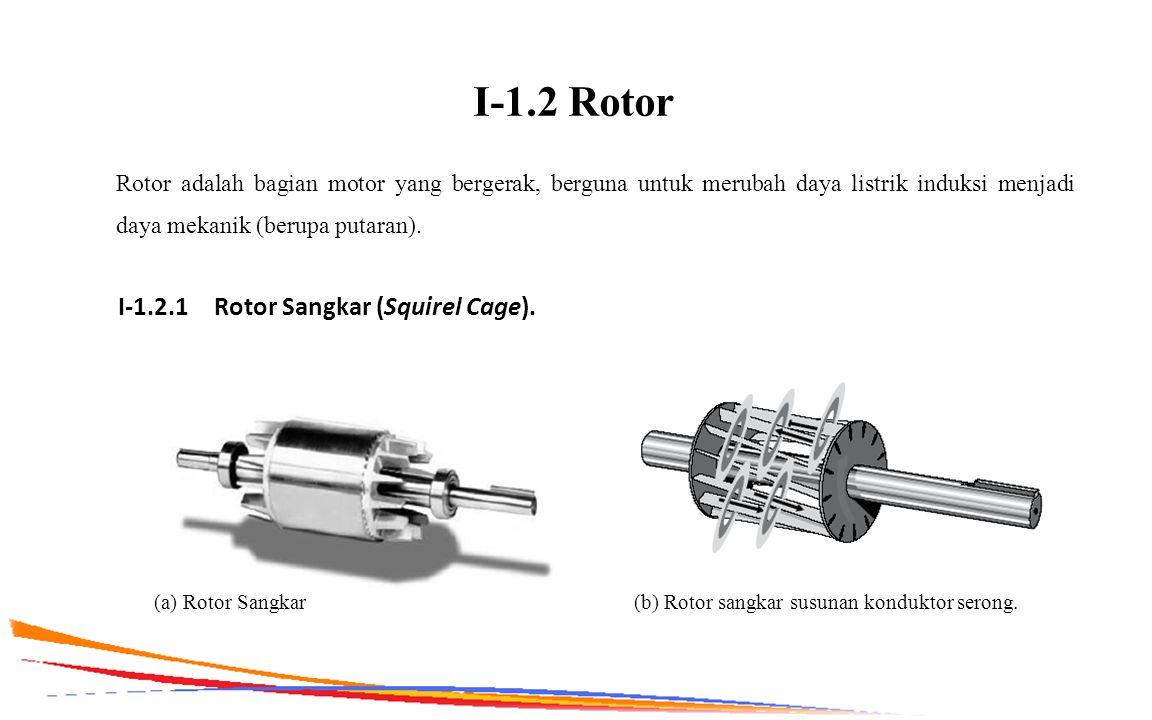 I-1.2 Rotor Rotor adalah bagian motor yang bergerak, berguna untuk merubah daya listrik induksi menjadi daya mekanik (berupa putaran). I-1.2.1 Rotor S
