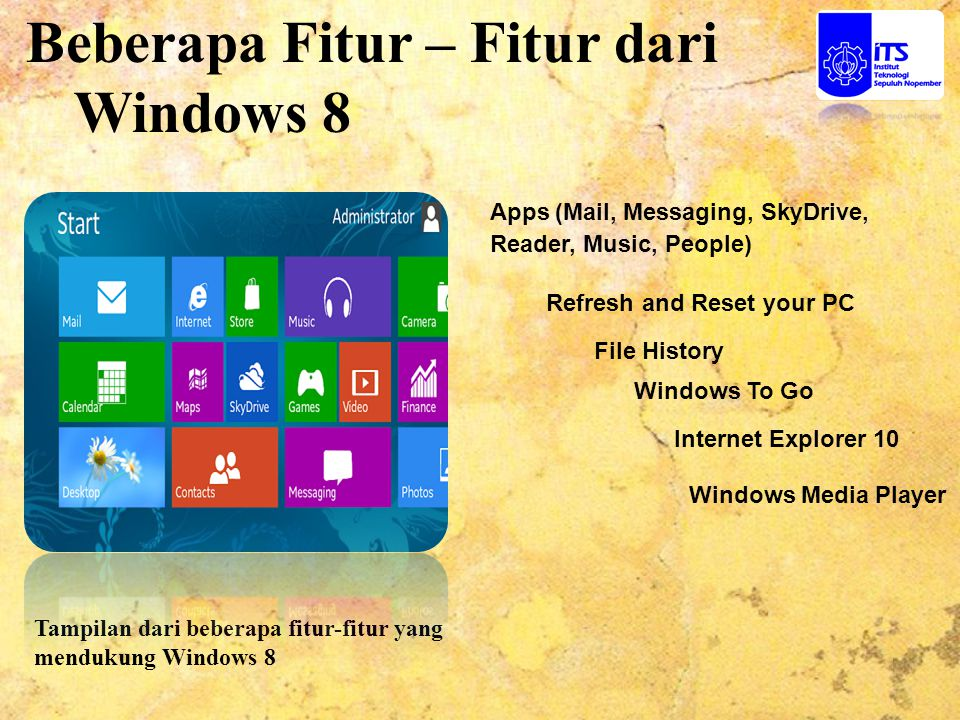 Beberapa Fitur – Fitur dari Windows 8 Tampilan dari beberapa fitur-fitur yang mendukung Windows 8 File History Windows To Go Internet Explorer 10 Refresh and Reset your PC Windows Media Player Apps (Mail, Messaging, SkyDrive, Reader, Music, People)