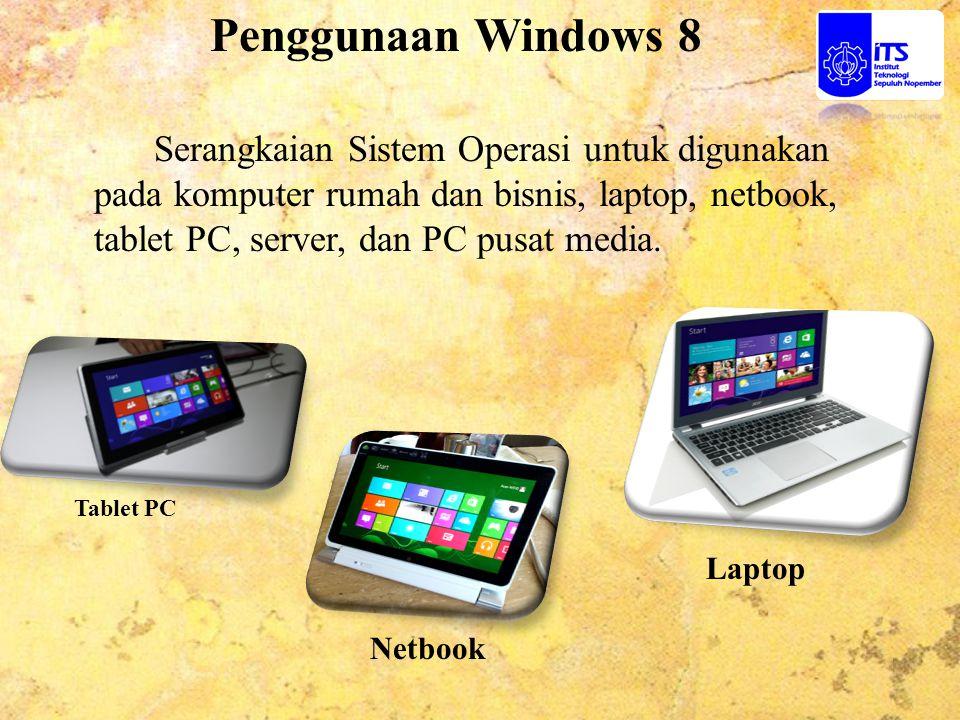 Penggunaan Windows 8 Serangkaian Sistem Operasi untuk digunakan pada komputer rumah dan bisnis, laptop, netbook, tablet PC, server, dan PC pusat media