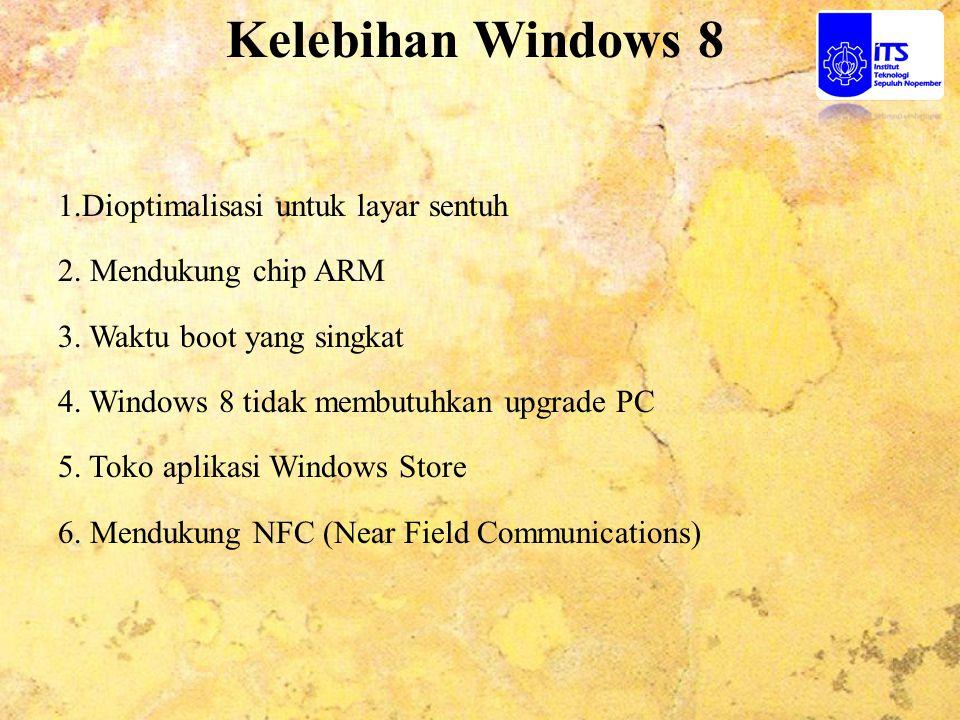 Kelebihan Windows 8 1.Dioptimalisasi untuk layar sentuh 2. Mendukung chip ARM 3. Waktu boot yang singkat 4. Windows 8 tidak membutuhkan upgrade PC 5.