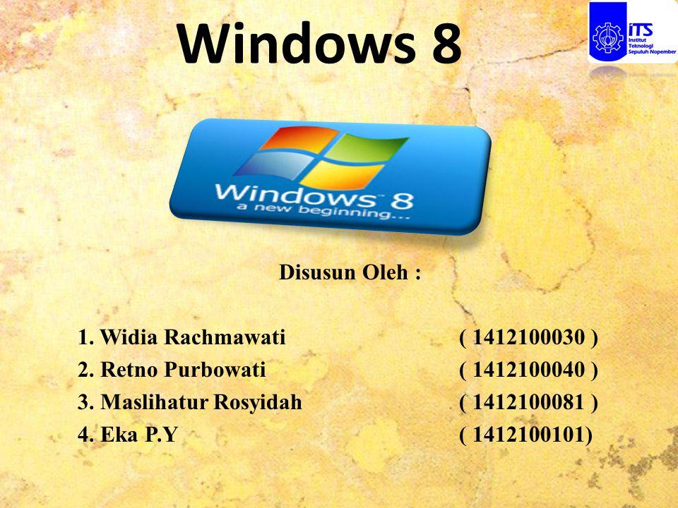 Windows 8 Disusun Oleh : 1. Widia Rachmawati ( 1412100030 ) 2. Retno Purbowati ( 1412100040 ) 3. Maslihatur Rosyidah ( 1412100081 ) 4. Eka P.Y ( 14121