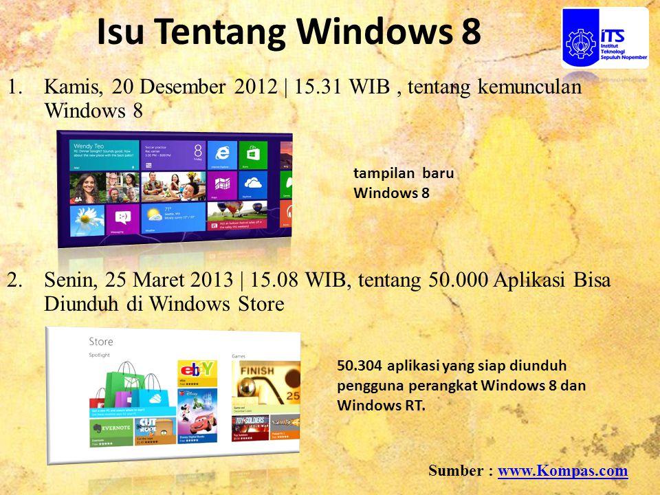 1.Kamis, 20 Desember 2012 | 15.31 WIB, tentang kemunculan Windows 8 2. Senin, 25 Maret 2013 | 15.08 WIB, tentang 50.000 Aplikasi Bisa Diunduh di Windo
