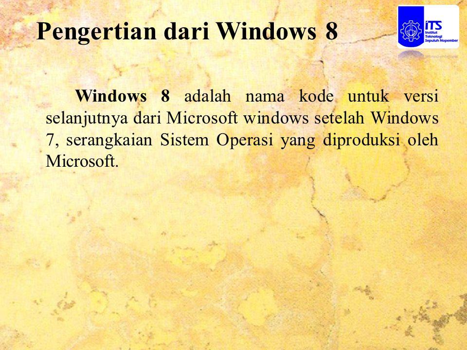 Pengertian dari Windows 8 Windows 8 adalah nama kode untuk versi selanjutnya dari Microsoft windows setelah Windows 7, serangkaian Sistem Operasi yang