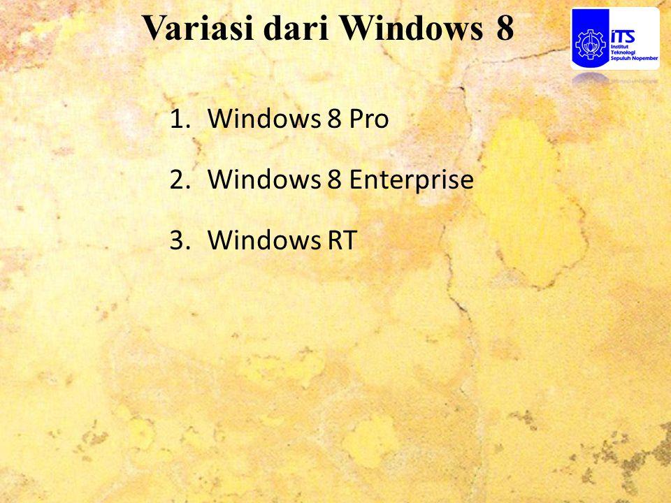 Windows 8 Pro Windows 8 Pro ini dirancang untuk penggemar teknologi dan bisnis / profesional teknis.