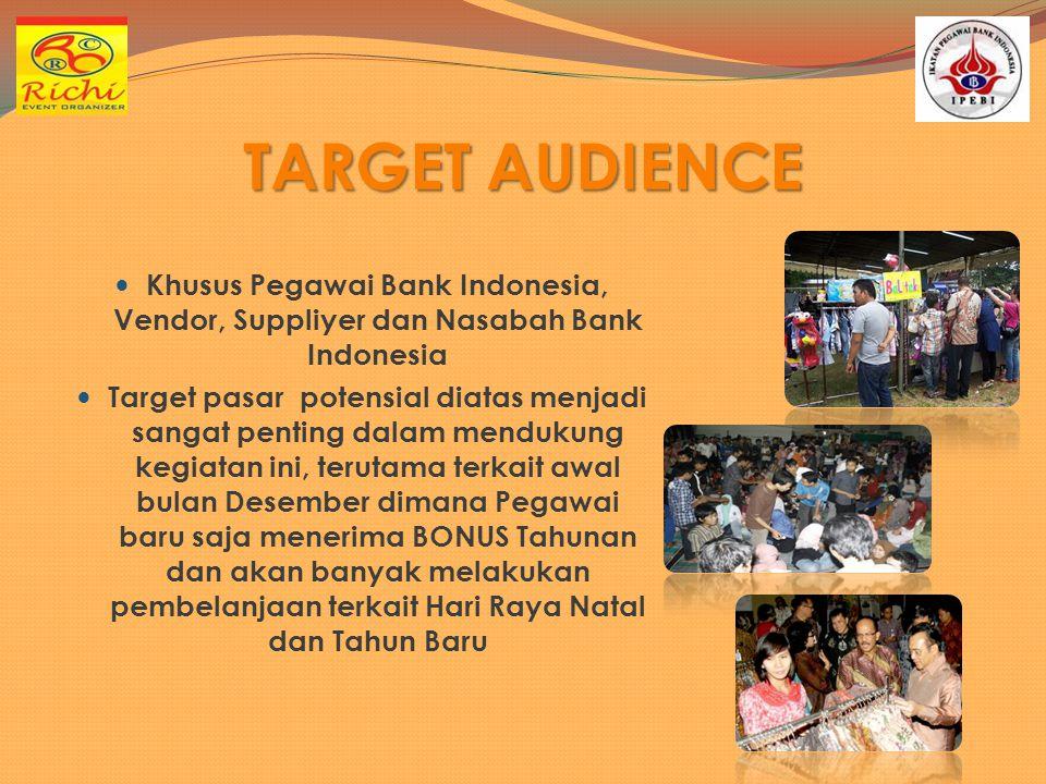 TARGET AUDIENCE Khusus Pegawai Bank Indonesia, Vendor, Suppliyer dan Nasabah Bank Indonesia Target pasar potensial diatas menjadi sangat penting dalam