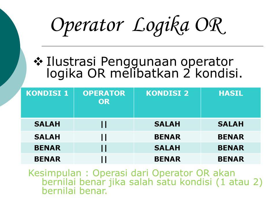 Operator Logika OR  Ilustrasi Penggunaan operator logika OR melibatkan 2 kondisi. KONDISI 1OPERATOR OR KONDISI 2HASIL SALAH||SALAH ||BENAR ||SALAHBEN