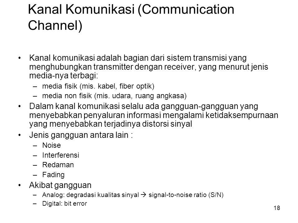 Kanal Komunikasi (Communication Channel) Kanal komunikasi adalah bagian dari sistem transmisi yang menghubungkan transmitter dengan receiver, yang men