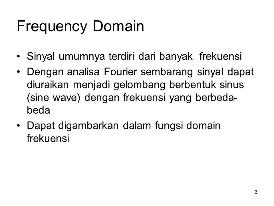 Frequency Domain Sinyal umumnya terdiri dari banyak frekuensi Dengan analisa Fourier sembarang sinyal dapat diuraikan menjadi gelombang berbentuk sinu