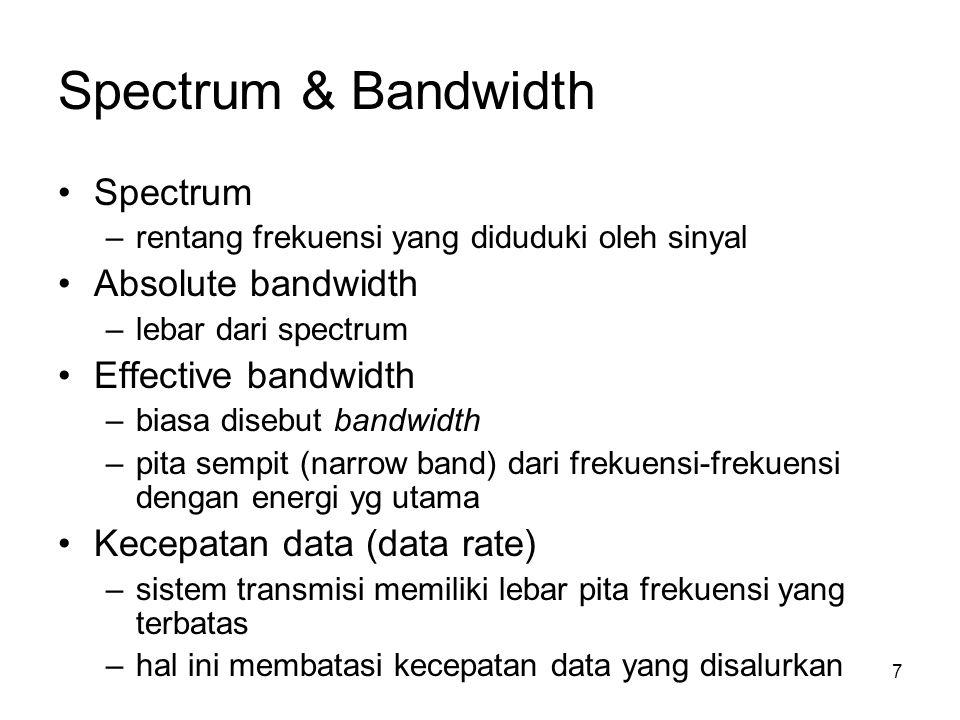 Spectrum & Bandwidth 7 Spectrum –rentang frekuensi yang diduduki oleh sinyal Absolute bandwidth –lebar dari spectrum Effective bandwidth –biasa disebu