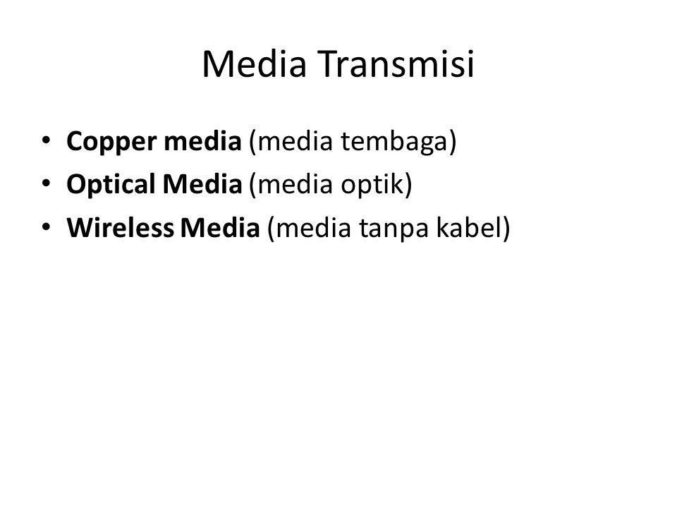 Media Transmisi Copper media (media tembaga) Optical Media (media optik) Wireless Media (media tanpa kabel)