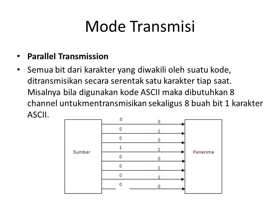 Mode Transmisi Parallel Transmission Semua bit dari karakter yang diwakili oleh suatu kode, ditransmisikan secara serentak satu karakter tiap saat. Mi