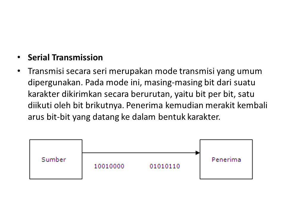 Serial Transmission Transmisi secara seri merupakan mode transmisi yang umum dipergunakan. Pada mode ini, masing-masing bit dari suatu karakter dikiri