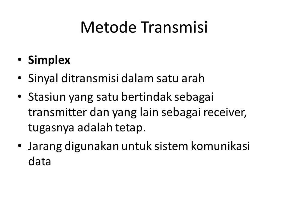 Metode Transmisi Simplex Sinyal ditransmisi dalam satu arah Stasiun yang satu bertindak sebagai transmitter dan yang lain sebagai receiver, tugasnya a
