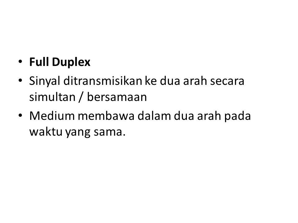 Full Duplex Sinyal ditransmisikan ke dua arah secara simultan / bersamaan Medium membawa dalam dua arah pada waktu yang sama.