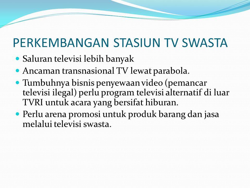 PERKEMBANGAN STASIUN TV SWASTA Saluran televisi lebih banyak Ancaman transnasional TV lewat parabola. Tumbuhnya bisnis penyewaan video (pemancar telev