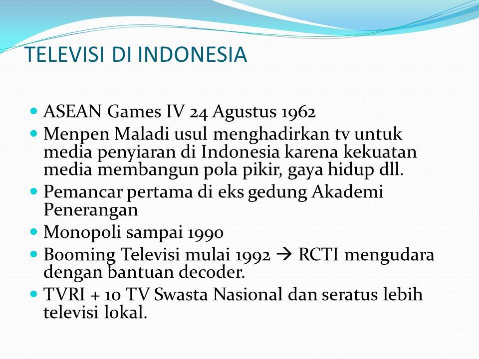 TELEVISI DI INDONESIA ASEAN Games IV 24 Agustus 1962 Menpen Maladi usul menghadirkan tv untuk media penyiaran di Indonesia karena kekuatan media memba
