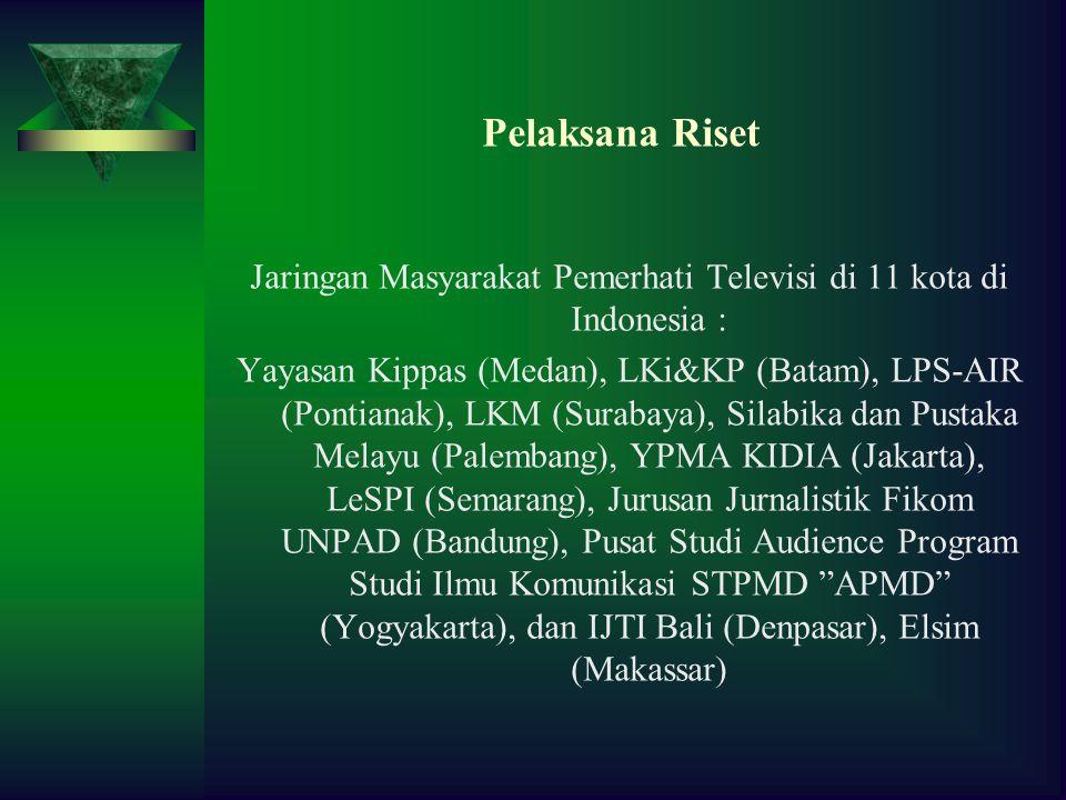 Pelaksana Riset Jaringan Masyarakat Pemerhati Televisi di 11 kota di Indonesia : Yayasan Kippas (Medan), LKi&KP (Batam), LPS-AIR (Pontianak), LKM (Surabaya), Silabika dan Pustaka Melayu (Palembang), YPMA KIDIA (Jakarta), LeSPI (Semarang), Jurusan Jurnalistik Fikom UNPAD (Bandung), Pusat Studi Audience Program Studi Ilmu Komunikasi STPMD APMD (Yogyakarta), dan IJTI Bali (Denpasar), Elsim (Makassar)