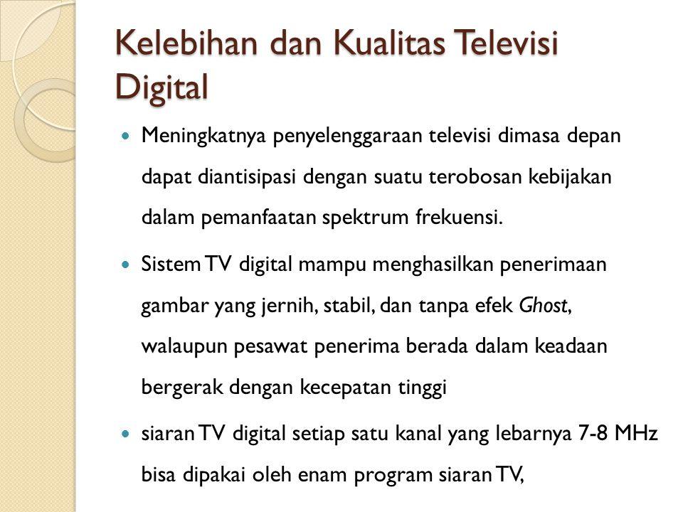 Kelebihan dan Kualitas Televisi Digital Meningkatnya penyelenggaraan televisi dimasa depan dapat diantisipasi dengan suatu terobosan kebijakan dalam p