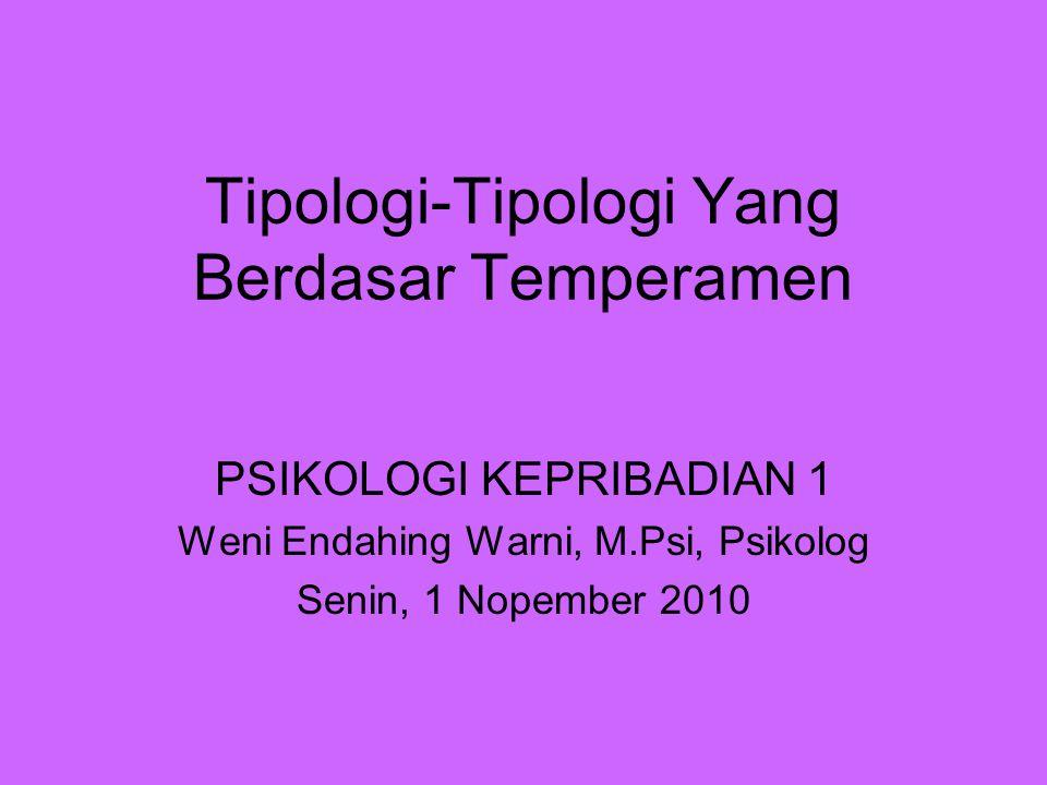 Tipologi-Tipologi Yang Berdasar Temperamen PSIKOLOGI KEPRIBADIAN 1 Weni Endahing Warni, M.Psi, Psikolog Senin, 1 Nopember 2010