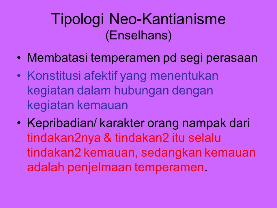 Tipologi Neo-Kantianisme (Enselhans) Membatasi temperamen pd segi perasaan Konstitusi afektif yang menentukan kegiatan dalam hubungan dengan kegiatan