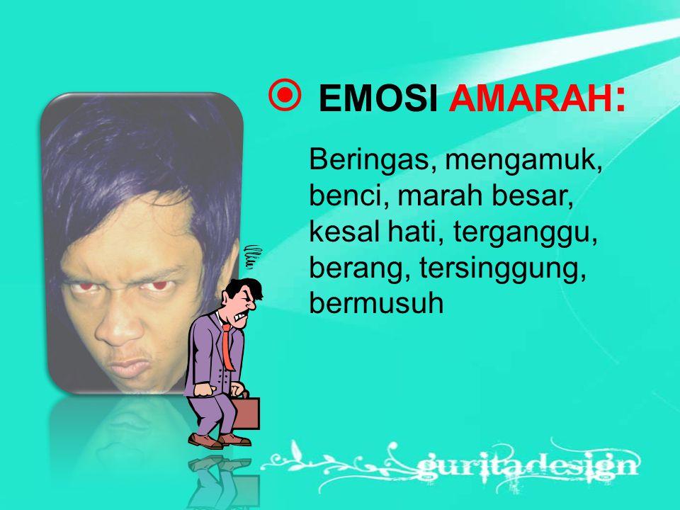  EMOSI AMARAH : Beringas, mengamuk, benci, marah besar, kesal hati, terganggu, berang, tersinggung, bermusuh