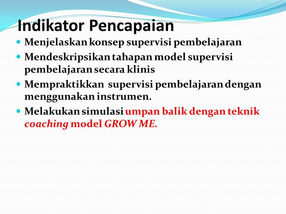 Cakupan Materi Bimtek Supervisi Pembelajaran 1 Konsep supervisi pembelajaran 2 Model supervisi pembelajaran secara klinis 3 Instrumen supervisi pembelajaran 4 Teknik coaching model GROW ME
