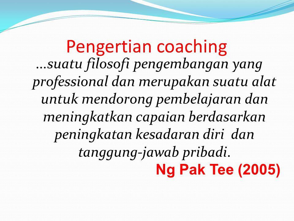 Pengertian coaching...suatu filosofi pengembangan yang professional dan merupakan suatu alat untuk mendorong pembelajaran dan meningkatkan capaian ber