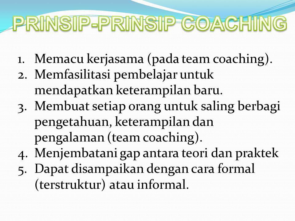 1.Memacu kerjasama (pada team coaching). 2.Memfasilitasi pembelajar untuk mendapatkan keterampilan baru. 3.Membuat setiap orang untuk saling berbagi p