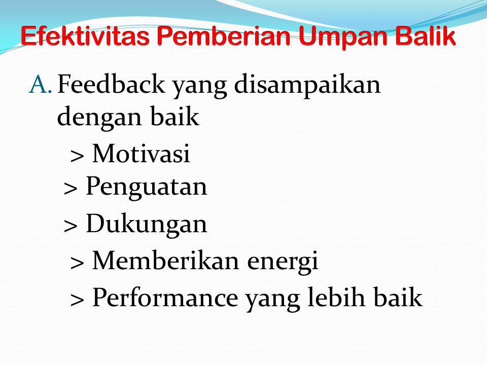 A. Feedback yang disampaikan dengan baik > Motivasi > Penguatan > Dukungan > Memberikan energi > Performance yang lebih baik