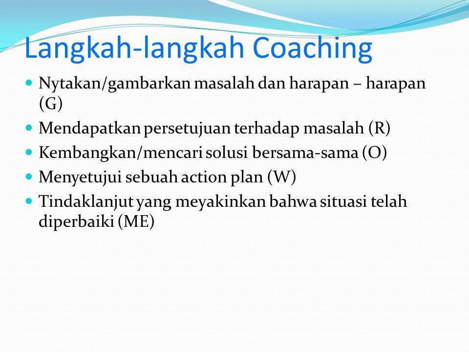 Langkah-langkah Coaching Nytakan/gambarkan masalah dan harapan – harapan (G) Mendapatkan persetujuan terhadap masalah (R) Kembangkan/mencari solusi be