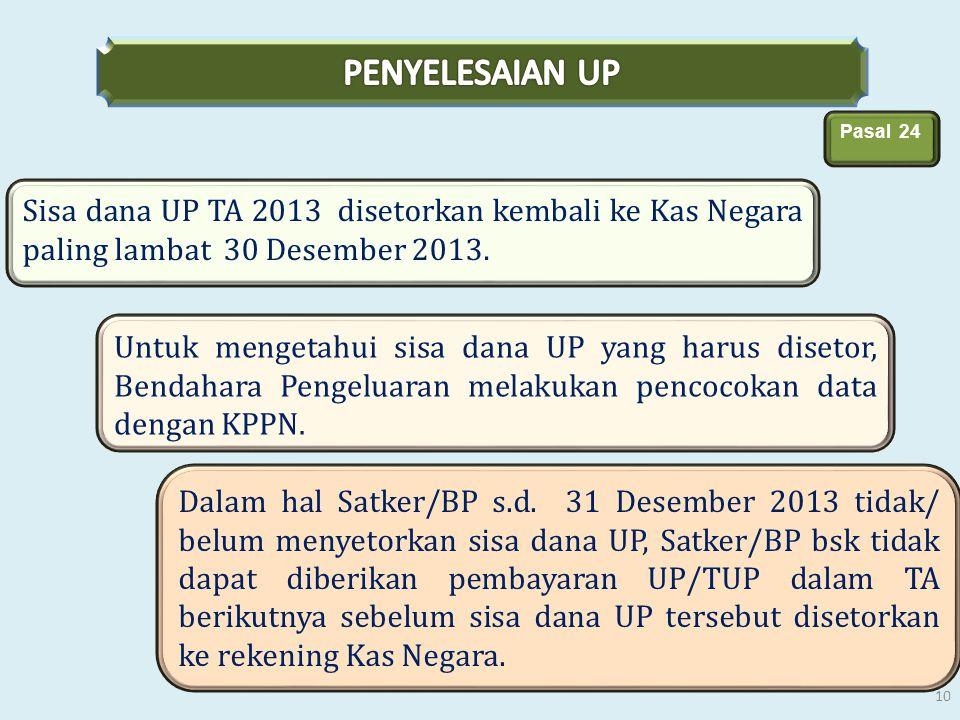 Sisa dana UP TA 2013 disetorkan kembali ke Kas Negara paling lambat 30 Desember 2013. Pasal 24 Untuk mengetahui sisa dana UP yang harus disetor, Benda