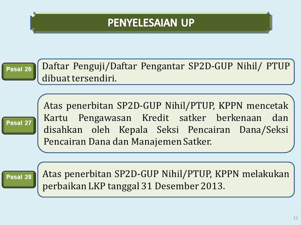 Daftar Penguji/Daftar Pengantar SP2D-GUP Nihil/ PTUP dibuat tersendiri. Atas penerbitan SP2D-GUP Nihil/PTUP, KPPN mencetak Kartu Pengawasan Kredit sat