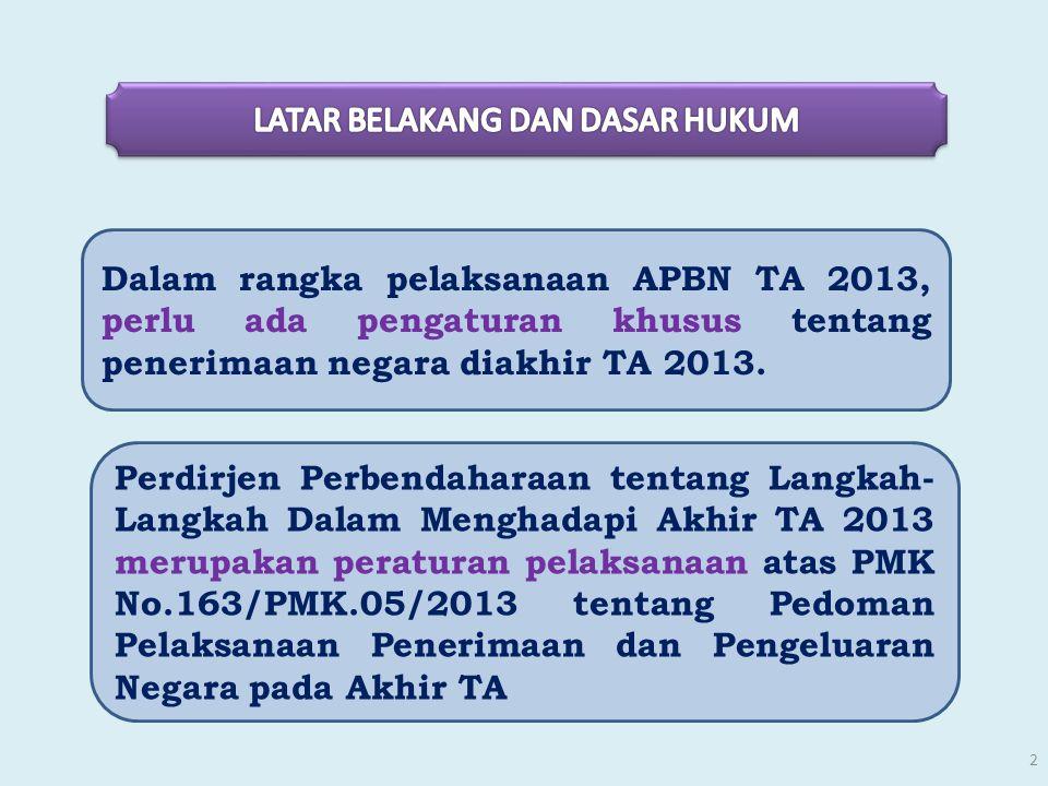 Dalam rangka pelaksanaan APBN TA 2013, perlu ada pengaturan khusus tentang penerimaan negara diakhir TA 2013. Perdirjen Perbendaharaan tentang Langkah