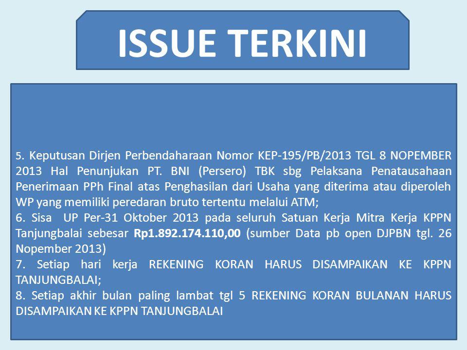 ISSUE TERKINI 5. Keputusan Dirjen Perbendaharaan Nomor KEP-195/PB/2013 TGL 8 NOPEMBER 2013 Hal Penunjukan PT. BNI (Persero) TBK sbg Pelaksana Penataus