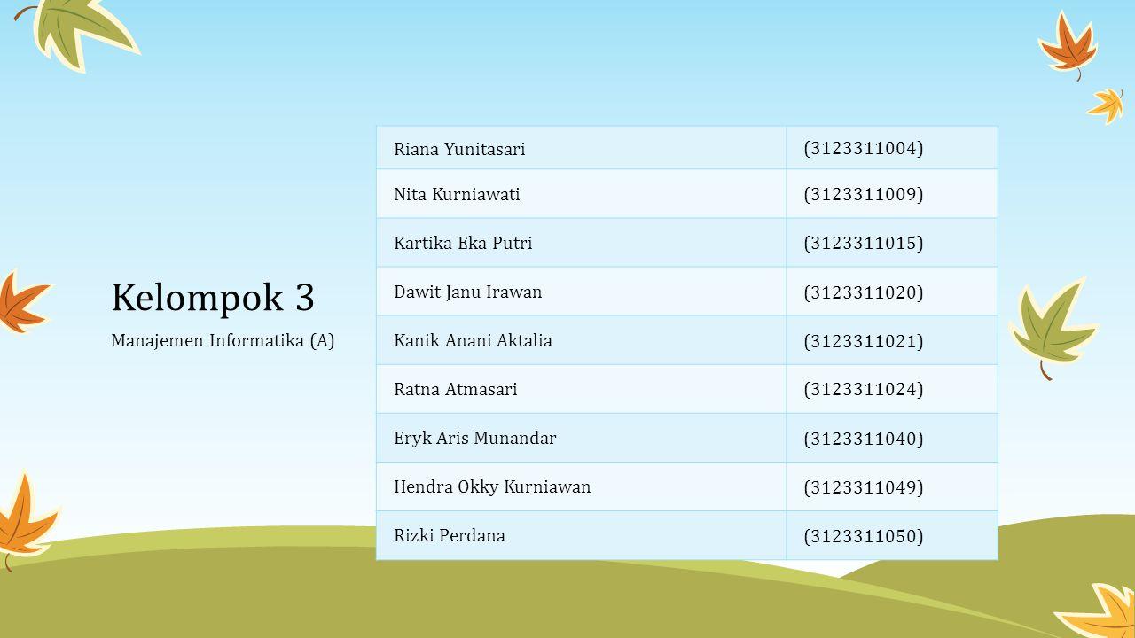 Kelompok 3 Riana Yunitasari (3123311004) Nita Kurniawati(3123311009) Kartika Eka Putri(3123311015) Dawit Janu Irawan (3123311020) Kanik Anani Aktalia